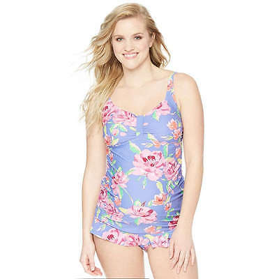 OH BABY Motherhood MATERNITY Floral Tankini SWIMSUIT 2 PC Medium XL MISMATCHED
