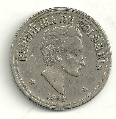 Very Nicely Detailed Higher End 1959 Colombia 20 Centavos Coin-M146