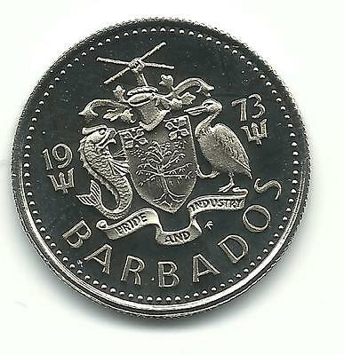 Very Nice Proof 1973 Barbados Ten 10 Cent Coin-Oct390