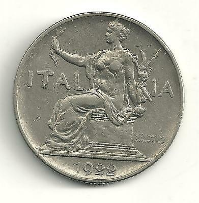Very Nicely Detailed High Grade Au 1922 Italy 1 Lira Coin