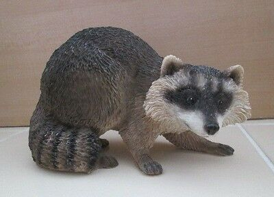 """Stone Critter Figure Raccoon on the Prowl Rock Figurine Collectible 5.25"""""""