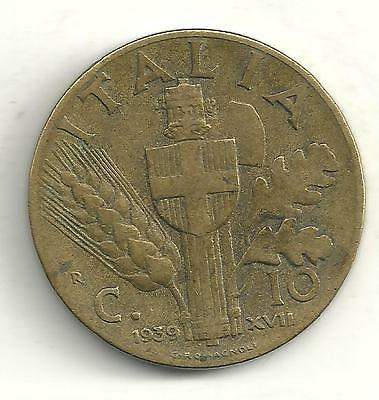 A Vintage Very Nicely Detailed 1939 R 10 Centesimi Italy Coin-A0008