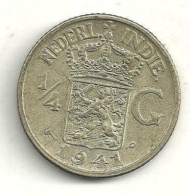 High End 1941 Netherlands East Indies 1/4 Gulden Silver Coin-M629
