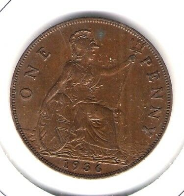 High Grade Au 1936 Uk Large Copper Penny-Great Britain!