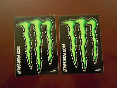 """Monster Energy Drink Decals Stickers """"4 x 3 inches"""" Lot of 2"""