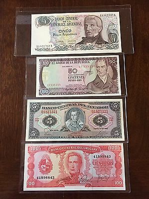 Lot of 4 Different World Foreign Banknotes ~ South America ~ CRISP UNCIRCULATED