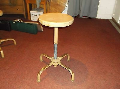 Vintage Ajustrite Swivel Adjustable Metal Stool ,Tan, Shop, Industrial, Mechanic