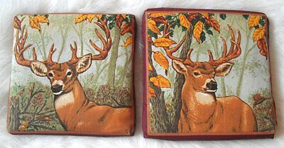 Set of 2 Rustic Deer Buck Cabin Lodge Wall Plaques Hangings Pictures
