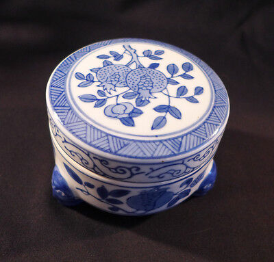 CHINESE porcelain BLUE and WHITE Round Footed Covered Box - Mark under lid