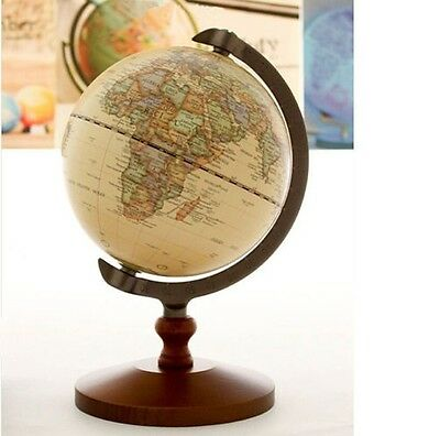 Vintage Wood World Map Globe Decorative Desktop Rotating Geography Globe 5""