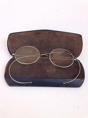 Antique Silvertone Wire Frame Eyeglasses Spectacles with Black Advertising Case