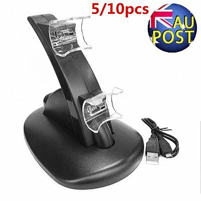 1/5/10pcs LED Light Quick Dual USB Charging Dock Stand Charger For PlayStation 3