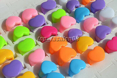Wholesale Lots 20Pcs Heart Color Simple Small Fresh Resin Lucite Rings Xmas FREE