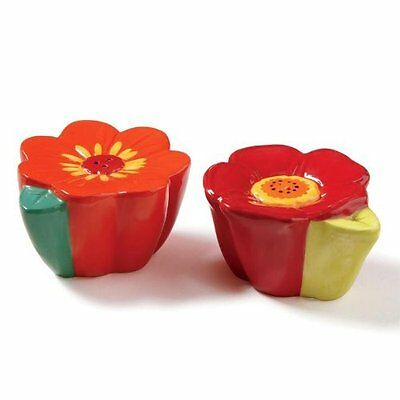 Multi Zinnia Floral Salt and Pepper Shakers - Set of 2