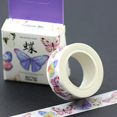 Purple Butterfly Washi Masking Tape Paper Adhesive DIY Card Photo Album Sticker