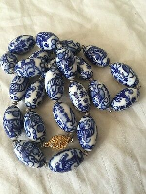 Antique Oriental Asian Chinese Porcelain Blue Beaded Necklace Silver Clasp 25.5""