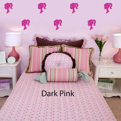 Barbie Head Silhouette Sheet of 40 Removable Wall Stickers