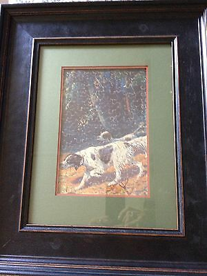 """Vintage c1930s wooden  jigsaw puzzle hunting dogs image """"framed"""""""