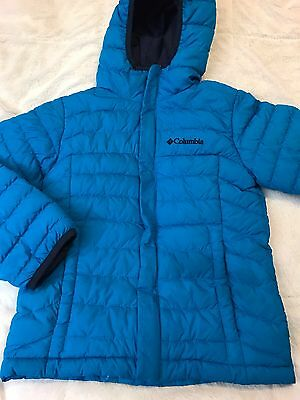 Columbia Kids Jacket Coat Winter Quilted Hooded Puffer Blue Kids Size XSmall (6)