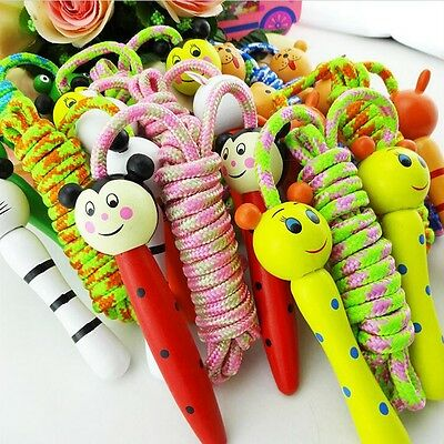 Kids Children Cartoon Animal Wooden Handle Skipping Jump Rope Exercise Boxing