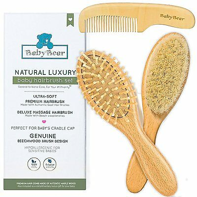 Natural Baby Hair Brush and Comb Set ~ Newborn Hair Brush Natural ~ Ideal Cradle