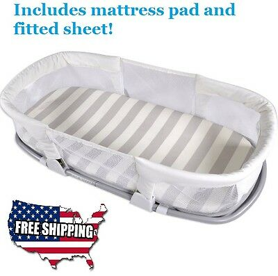 Baby and Infant Mini Crib / Bedding By your Side Nursery Sleeper Secure Bed NEW