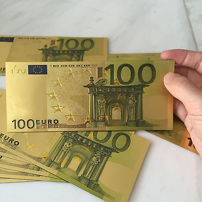 0.Hot Sale 1PC €100 Coloured Gold Foil Collection Banknotes Collections Gifts
