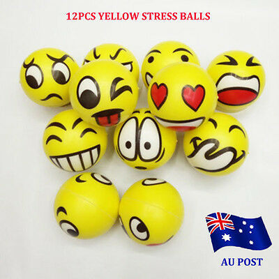12x YELLOW STRESS BALLS Hand Relief Squeeze Toy Reliever Antistress Smiley MN