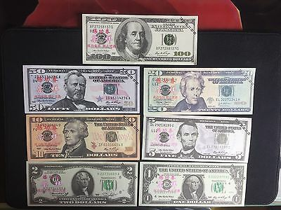 7PCS USA Dollar $100/50/20/10/5/2/1 Training Banknote Props Money Home Decor Art