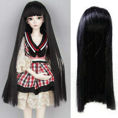 New Black Neat Bang Straight Long Wig Hair Wig fit for 1/6 SD AOD DOD BJD Doll