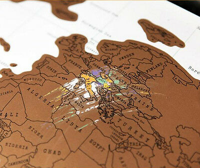 1pc Travel World Map Poste Log Vacation Personalized Journal Log Scratch Off