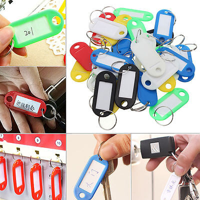 30pcs Plastic Multi-color Key Fobs Luggage ID Tags Labels with Key Rings Random