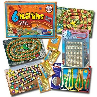 6 Maths Board Games  basic pack     Smart Kids key stage 1 learning aid