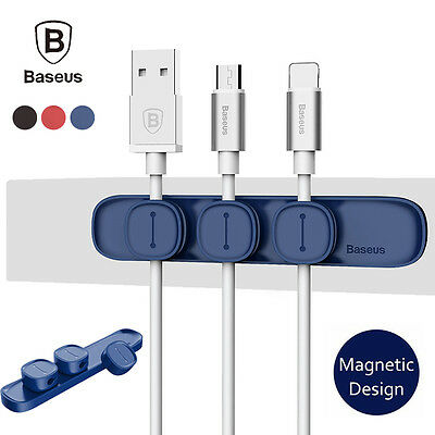 Baseus Magnetic Universal USB Cable Organizer Wire Cord Fixer Holder Clamp Lead