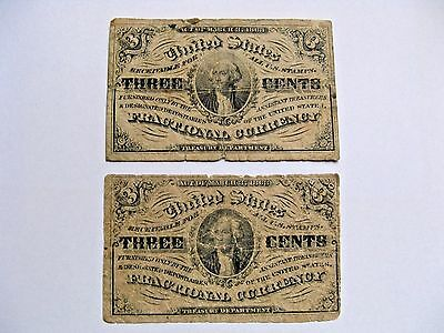 3 cent US Fractional Currency Third Issue  FR 1226 and FR 1227 1864 - 1867