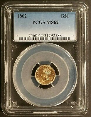 1862 G$1 Ty-3 Indian Princess Head Gold Dollar PCGS MS62 - Civil War Year