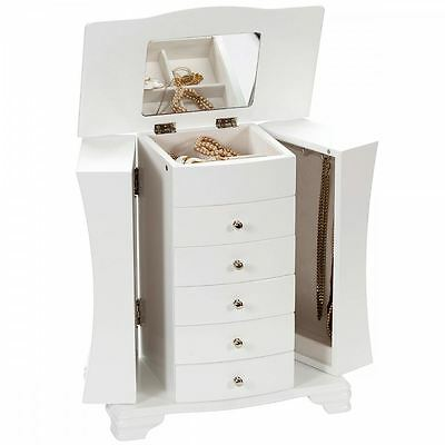 Large Hour Glass White Java Finish Wooden Jewellery Box - Caroline by Mele & Co