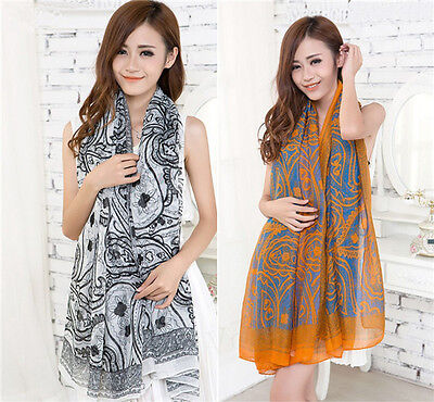 Women Voile Vintage Persia veins Scarf Shawl Wrap Stole Soft Scarves Hot