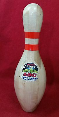 AMF ABC Champions Tournament Reno 2004 Bowling Pin Trophy Clear Plastic Coating