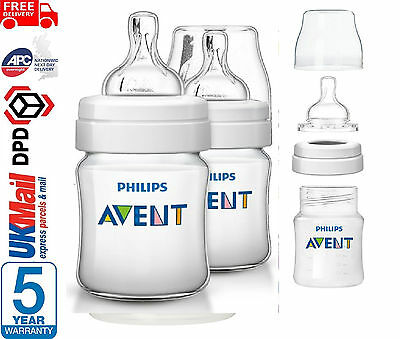 New Philip Avent Classic+ 125ml/4oz Baby Feeding Bottle Twin Pack Set SCF560/27