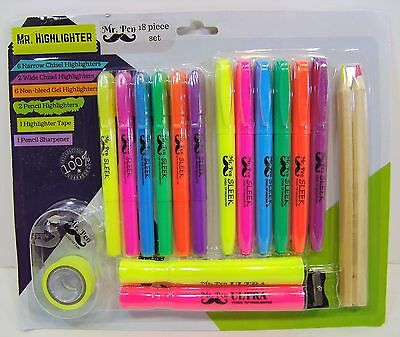 Mr Pen 18 Pcs Highlighter Set Assorted Colors 6 Pen Style Narrow 6 Gel Markers