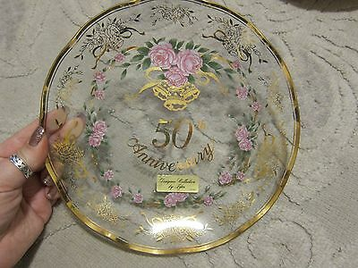 Vtg Designer Collection Lefton China 50th Anniversary clear ruffled edge plate