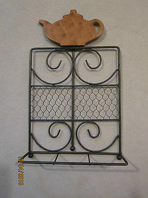 NEW Black Metal Book / Cookbook Stand with Wooden Teapot - country kitchen
