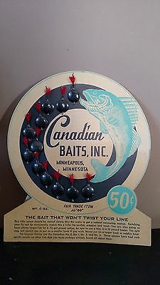 RARE Vintage Advertising Carboard Display Canadian Baits, Inc Fishing Lures
