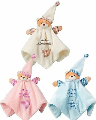 Personalised Teddy Bear Baby Comforter Snuggle Blanket Birth/Christening Gift