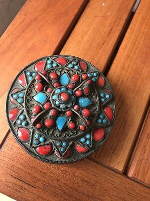 Hand Crafted INTRICATE Brass BOX Original INDIA  BUDDHA Coral Turquoise