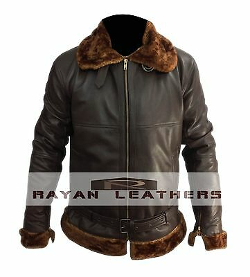 Men's Aviator 100% Real Sheepskin Bomber Flying Leather Jacket High Quality