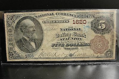 1882 Staunton Virginia $5 Brown Back Fr. 469 The National Valley Bank Ch. # 1620