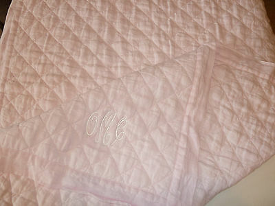 Pottery Barn Kids New Belgian Flax Pink Linen Toddler Quilt OMC Please Read