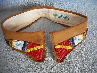 """Vintage Beaded Collar 17"""" Button-on Hairston-Roberson Tribal Reenactor Used"""